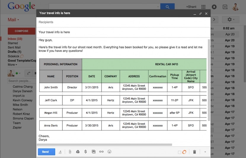 Communicate Production Travel by Pasting between Google Sheets into Gmail