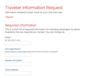 Book Production Travel - Gather Traveler Information with Google Forms