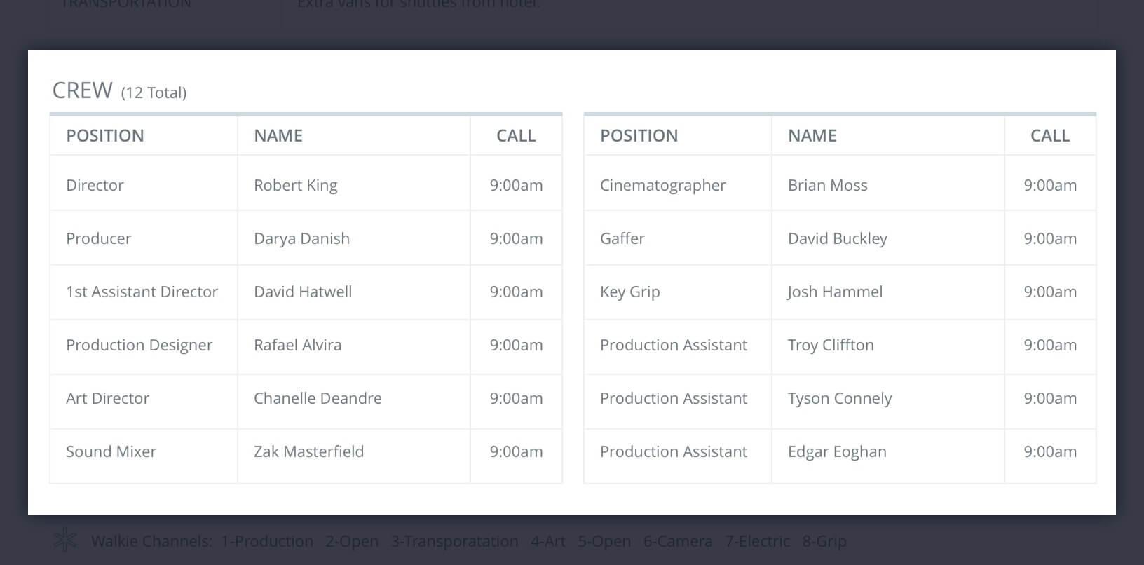 Callsheet Template Anatomy - Crew List - StudioBinder