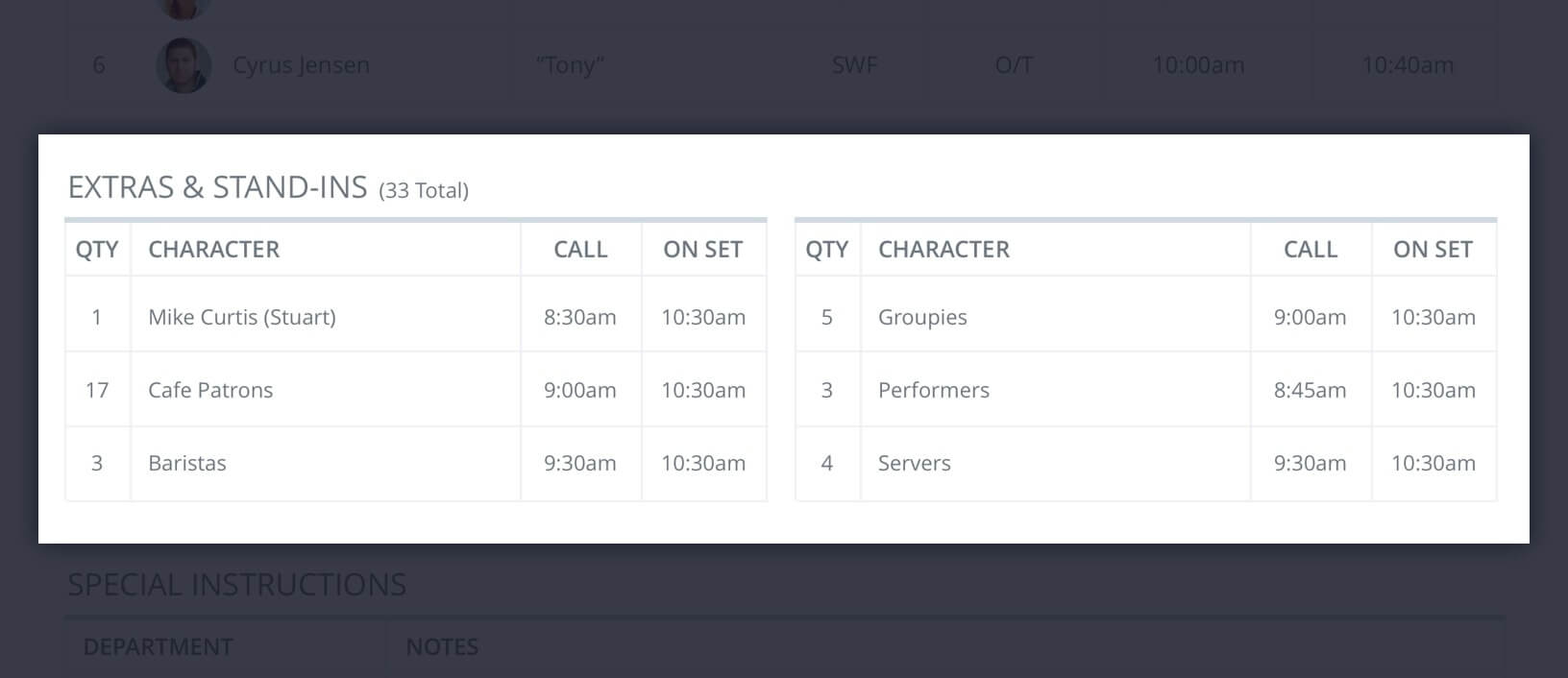 Callsheet Template Anatomy - Extras and Stand-Ins List - StudioBinder