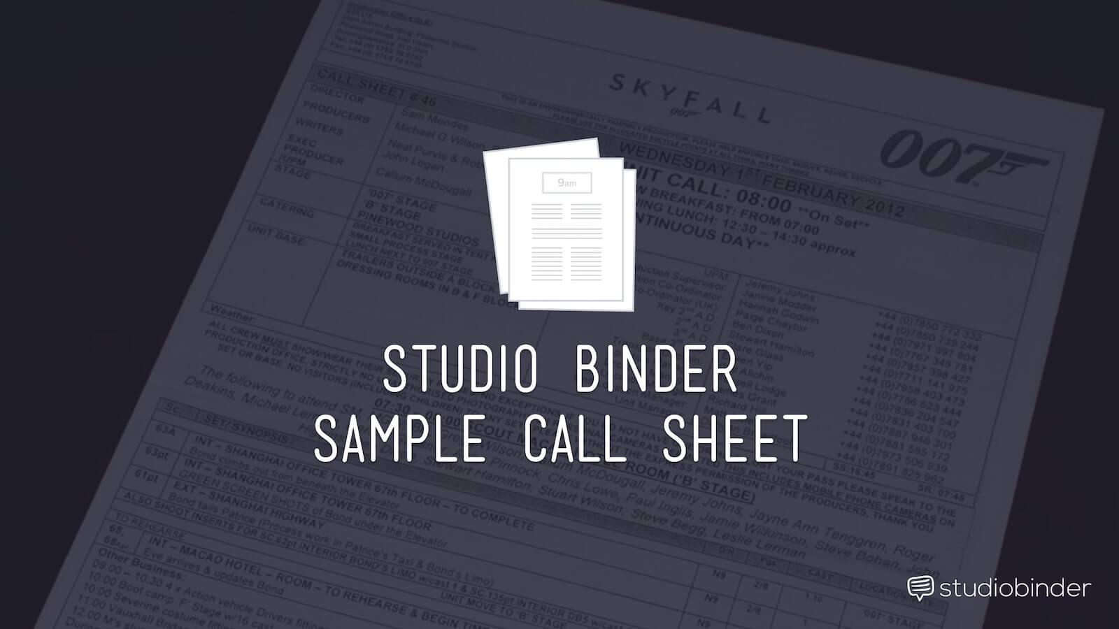 Sample Photoshoot Call Sheet Template