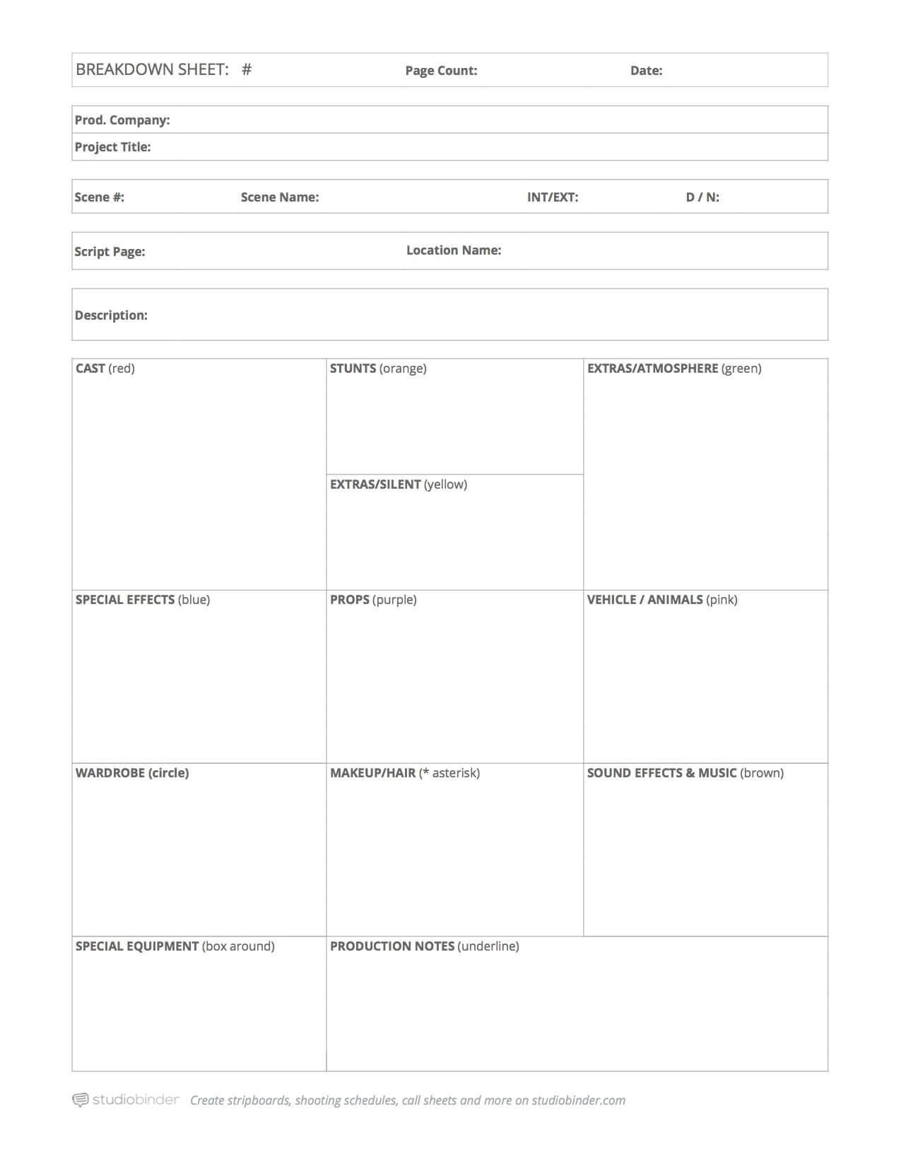 Script Breakdown Template Sheet Studiobinder