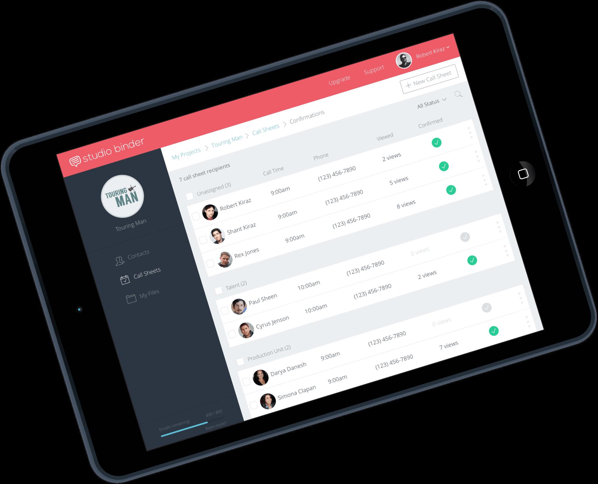 Call Sheet Recipients - StudioBinder - iPad-min