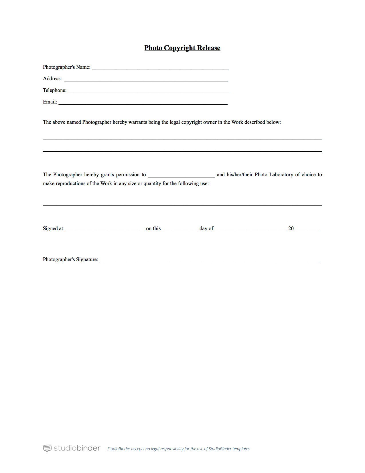 why you should have a photo release form template