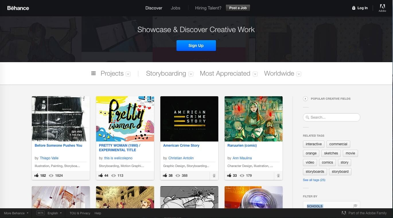 Storyboard Artist Websites Behance StudioBinder