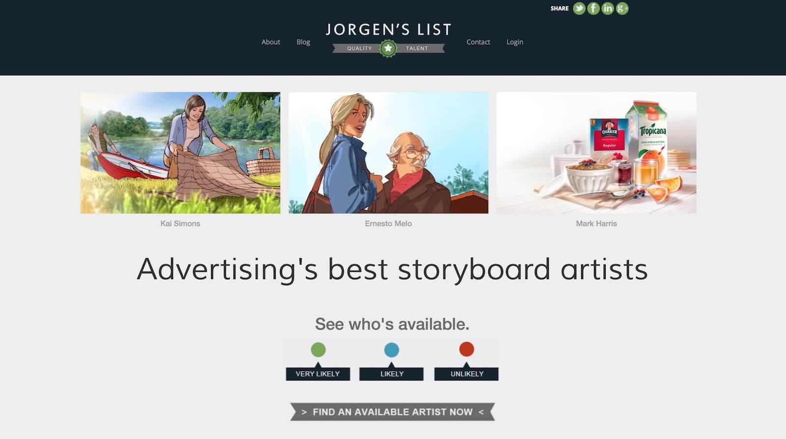 Storyboard Artist Websites - Jorgens List - StudioBinder