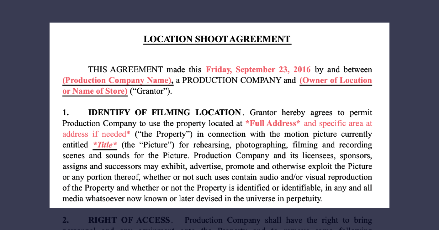 1 - Film Location Release Form Excerpt - Identity of Filming Locations