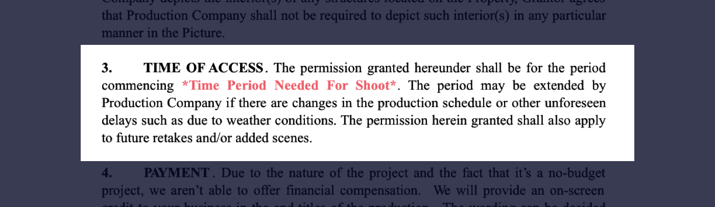 3 - Film Location Release Form Excerpt - Time of Access