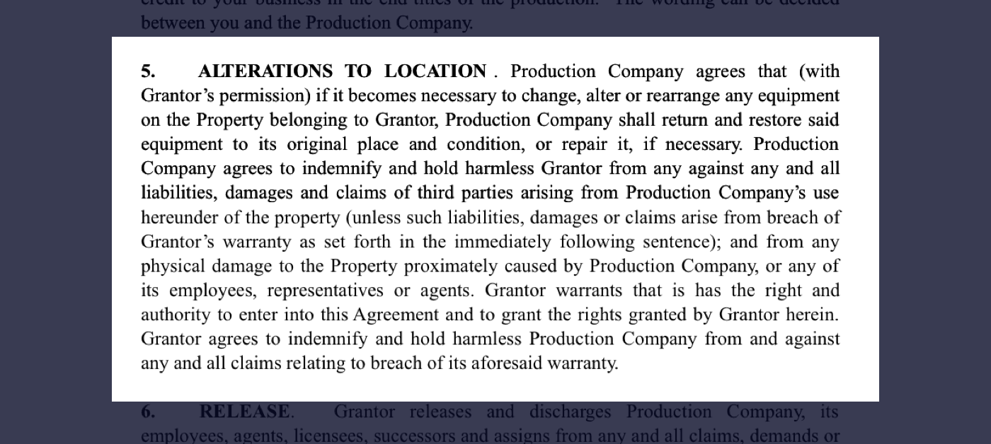 5 - Film Location Release Form Excerpt - Alterations to Filming Location