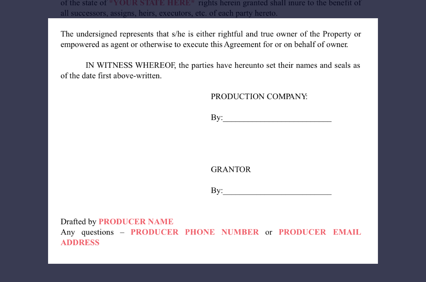 8 - Film Location Release Form Excerpt - Producers Signatures