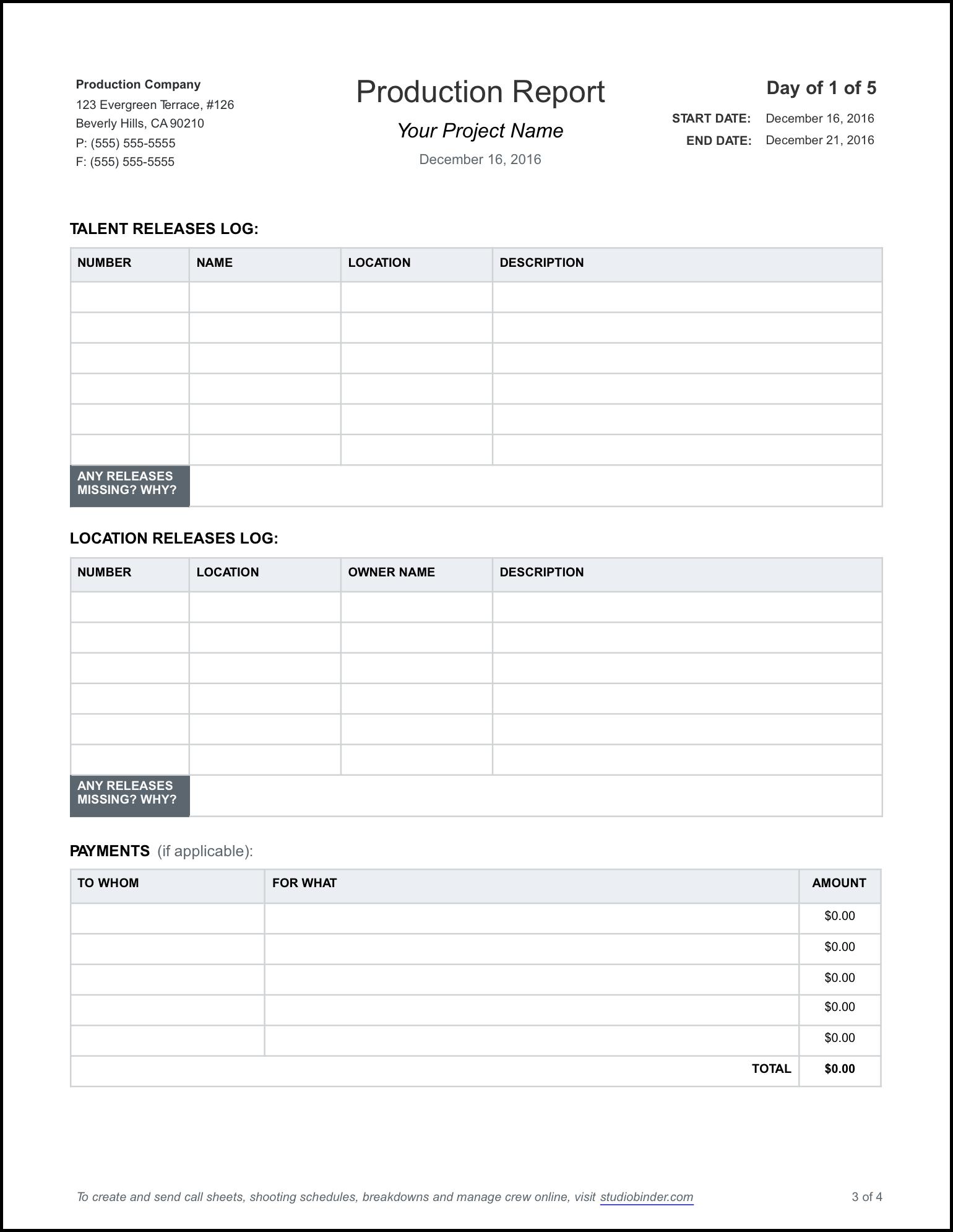 format daily report - Parfu kaptanband co