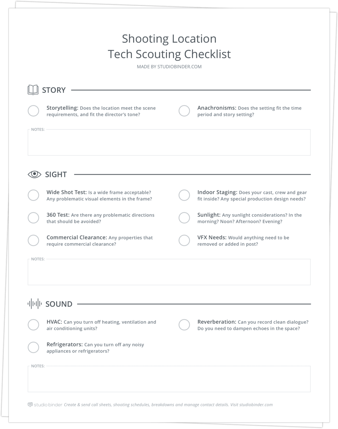 Location Tech Scouting Checklist - Stack - StudioBinder