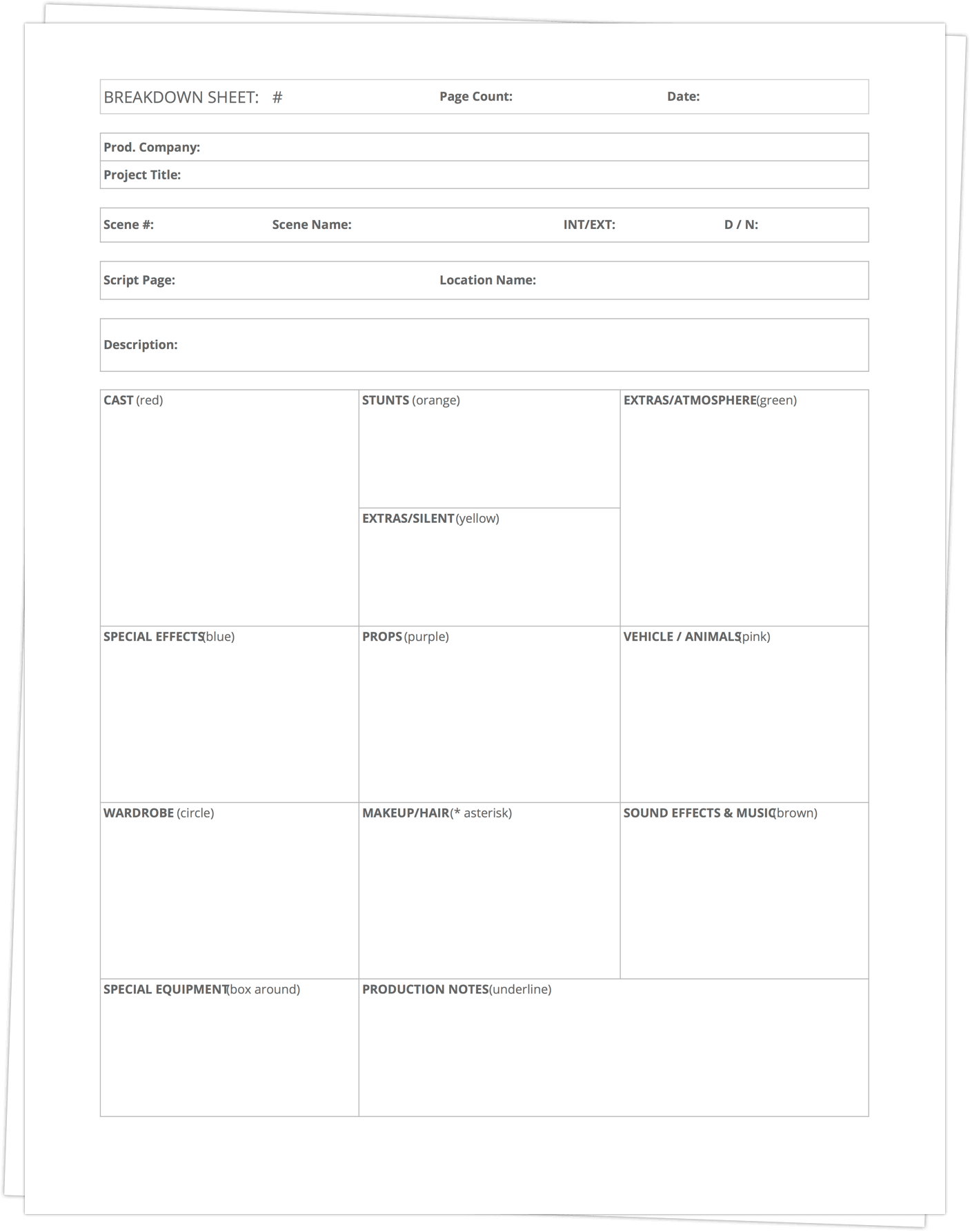 Download Free Script Breakdown Sheet Template