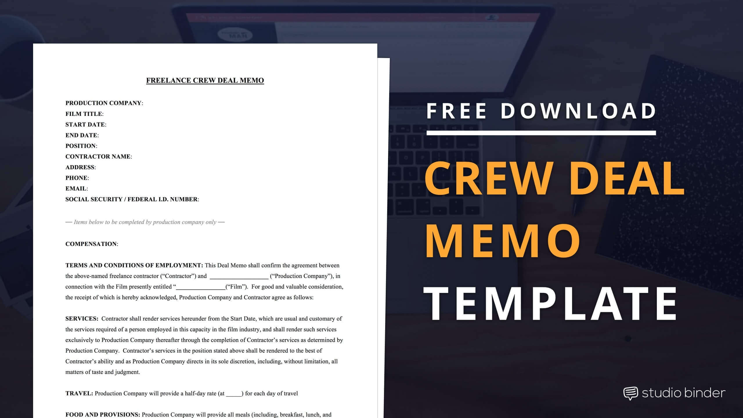 Crew Deal Memo Template Free Download - StudioBinder