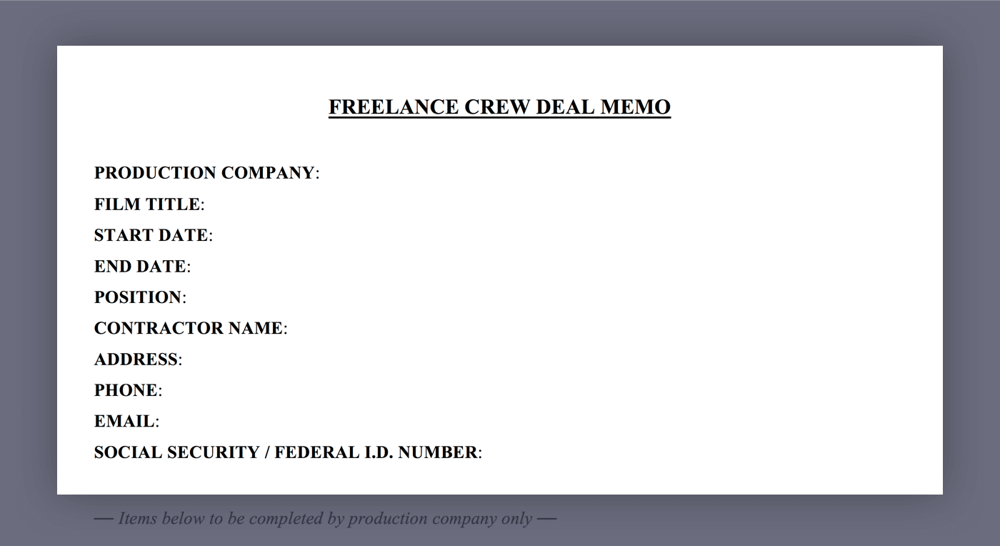 Mastering the Crew Deal Memo Template - 01 - General Information - StudioBinder