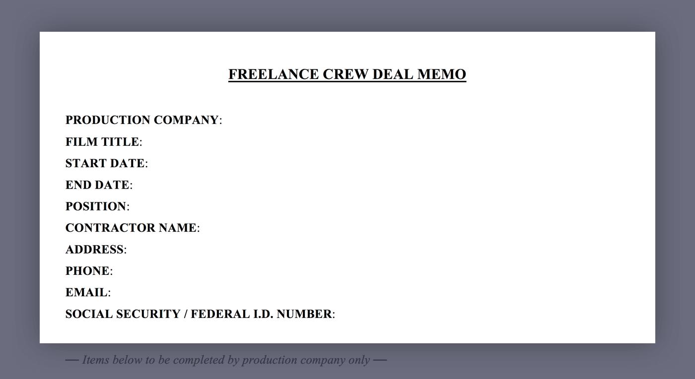 Mastering the Crew Deal Memo Template - 01 - General Information - StudioBinder