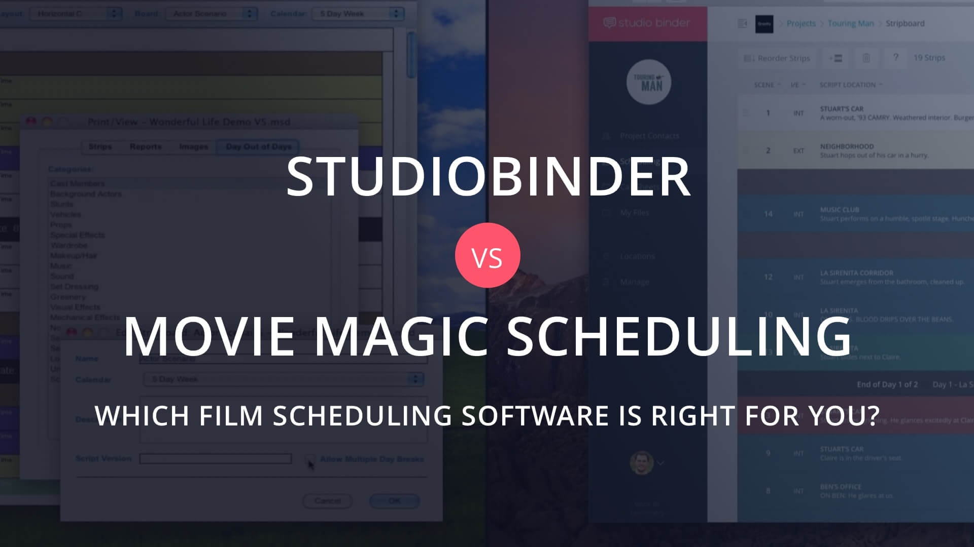 Movie Magic Scheduling Software vs StudioBinder Film Production Software - MovieMagic Featured