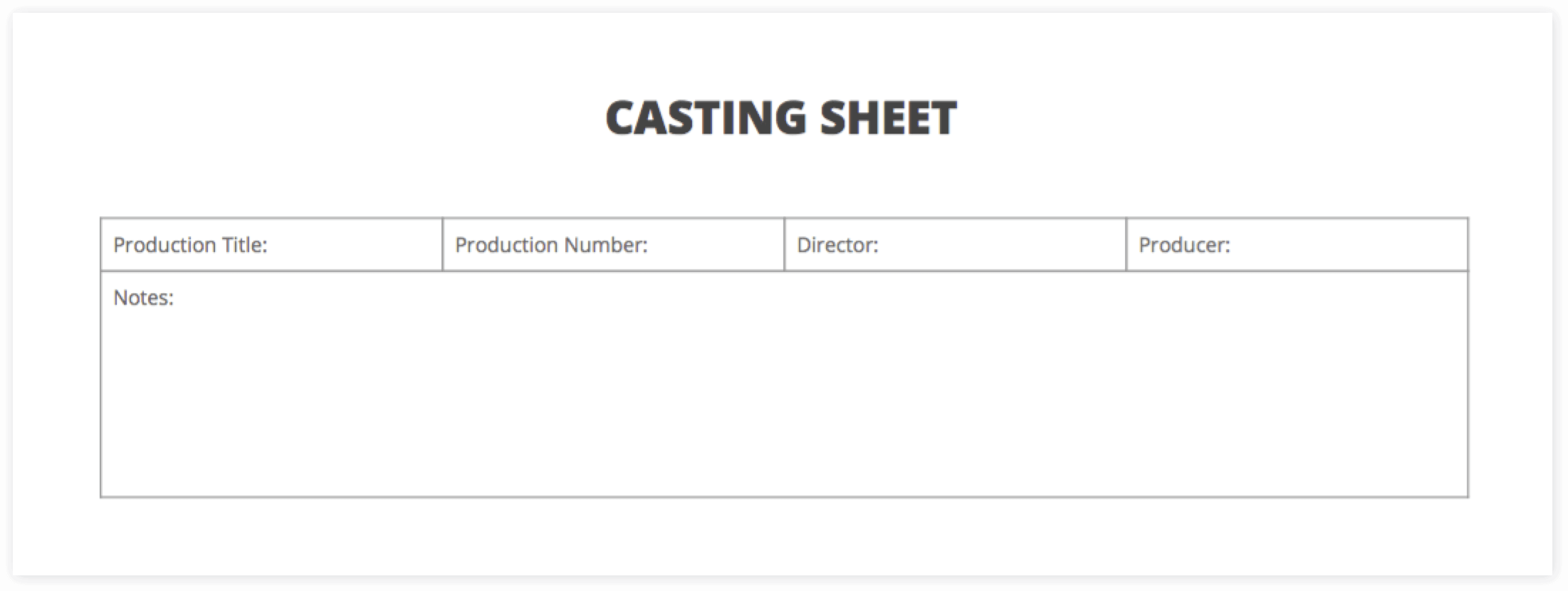 The Ultimate Guide To Casting Auditions Free Casting Sheet Template