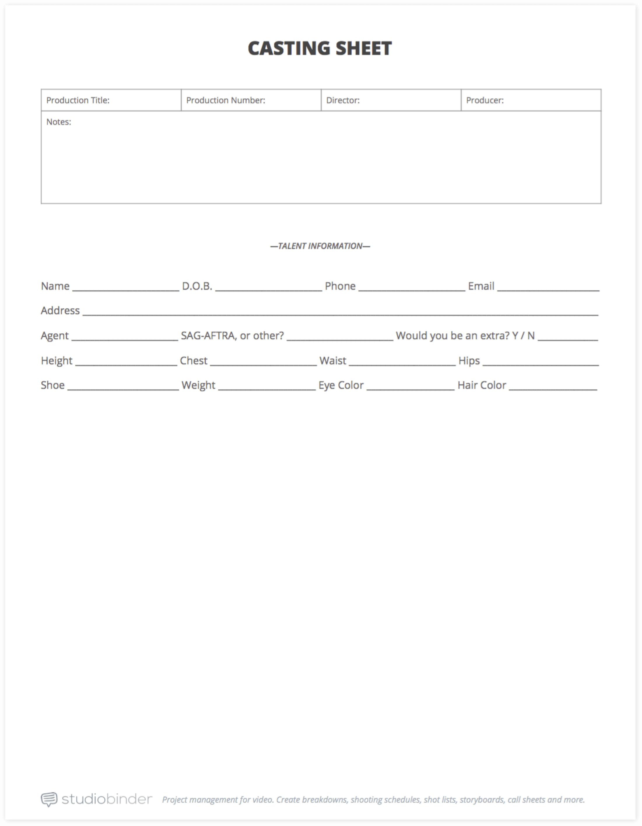 Your Free Casting Sheet Template