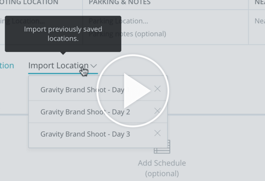 StudioBinder Tutorials - Call Sheets - Import Shoot Locations into Call Sheet