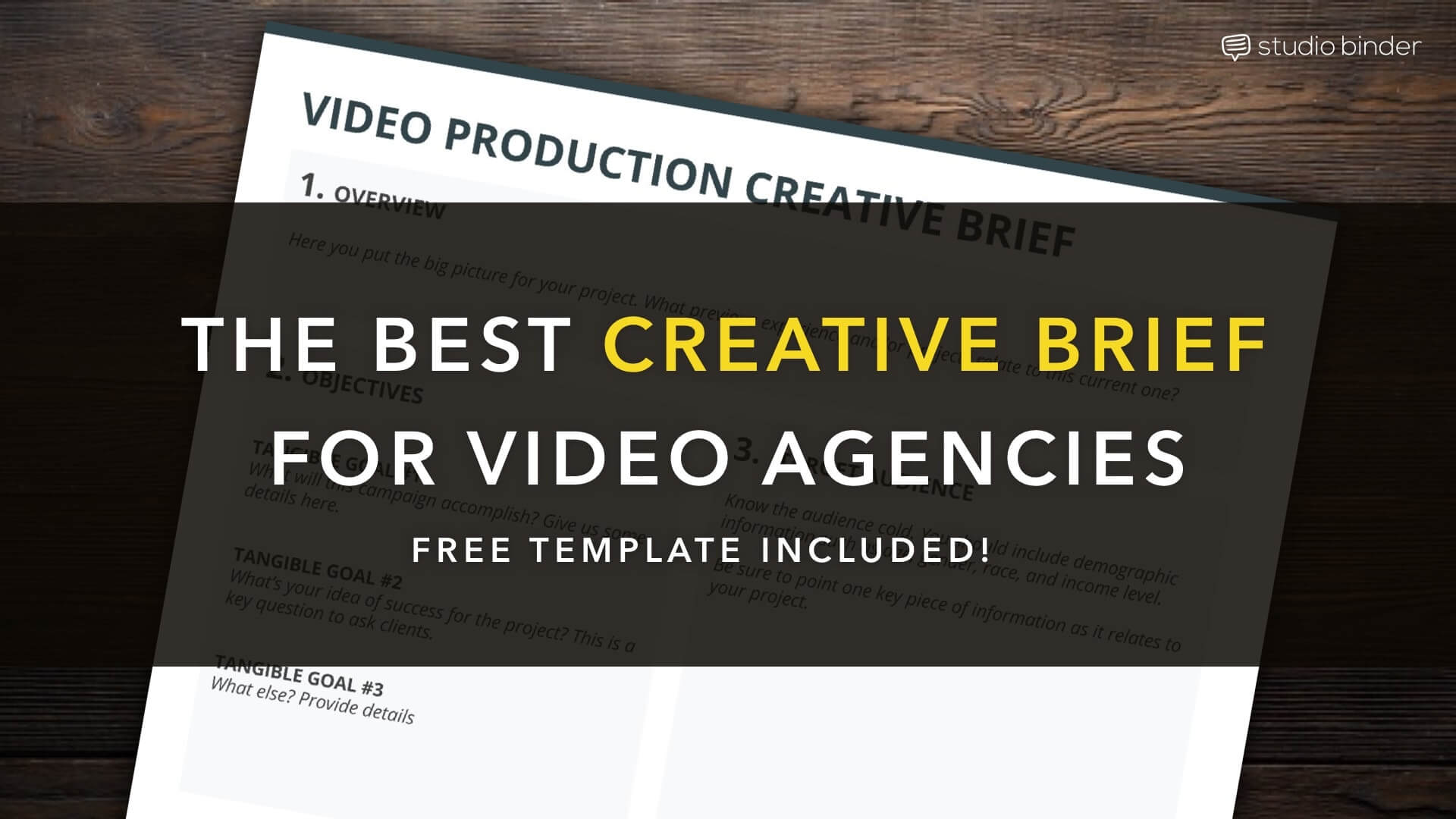the best creative brief template for video creatives free template