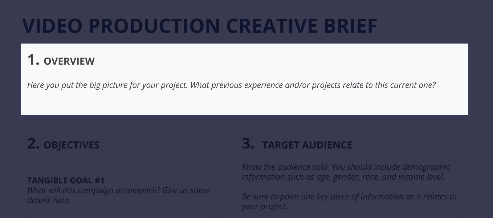 the best creative brief template for video agencies free download section 1