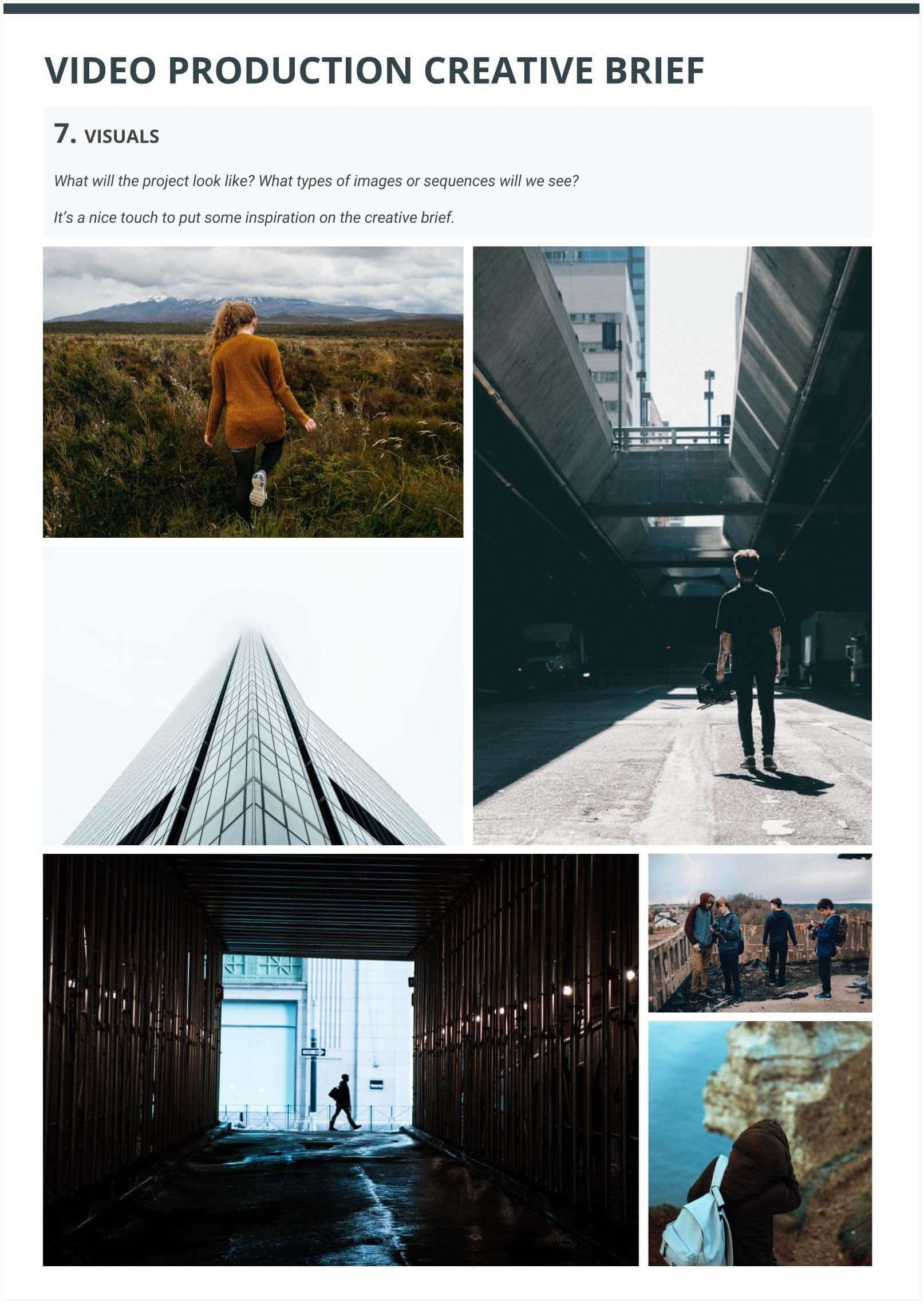 The Best Creative Brief Template For Video Agencies [Free Download] - Section 7 - Mood Board Visuals