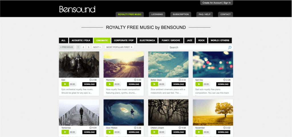 Best Stock Music Sites for Video Creators - Bensound - StudioBinder