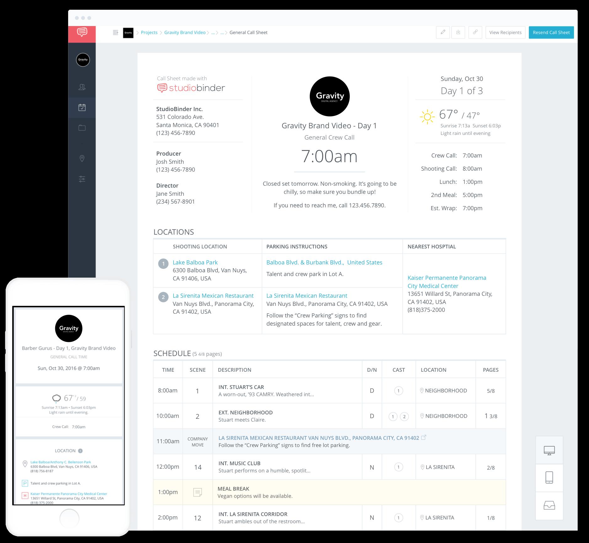 model call sheet template