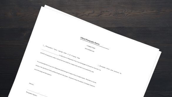 FREE Photo Release Form Template Download PDF - Cover - StudioBinder