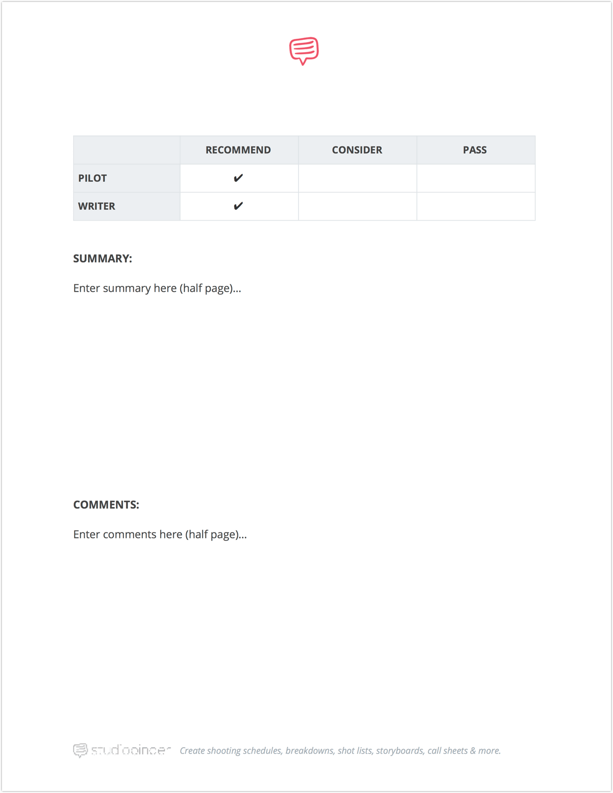 download free script coverage template studiobinder