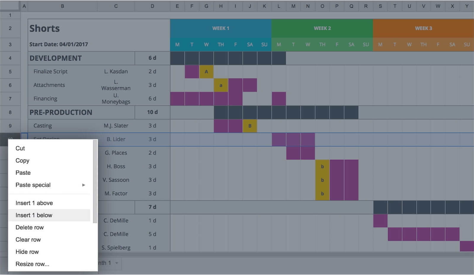 Free Gantt Chart Excel Template - Right-Click Option - StudioBinder