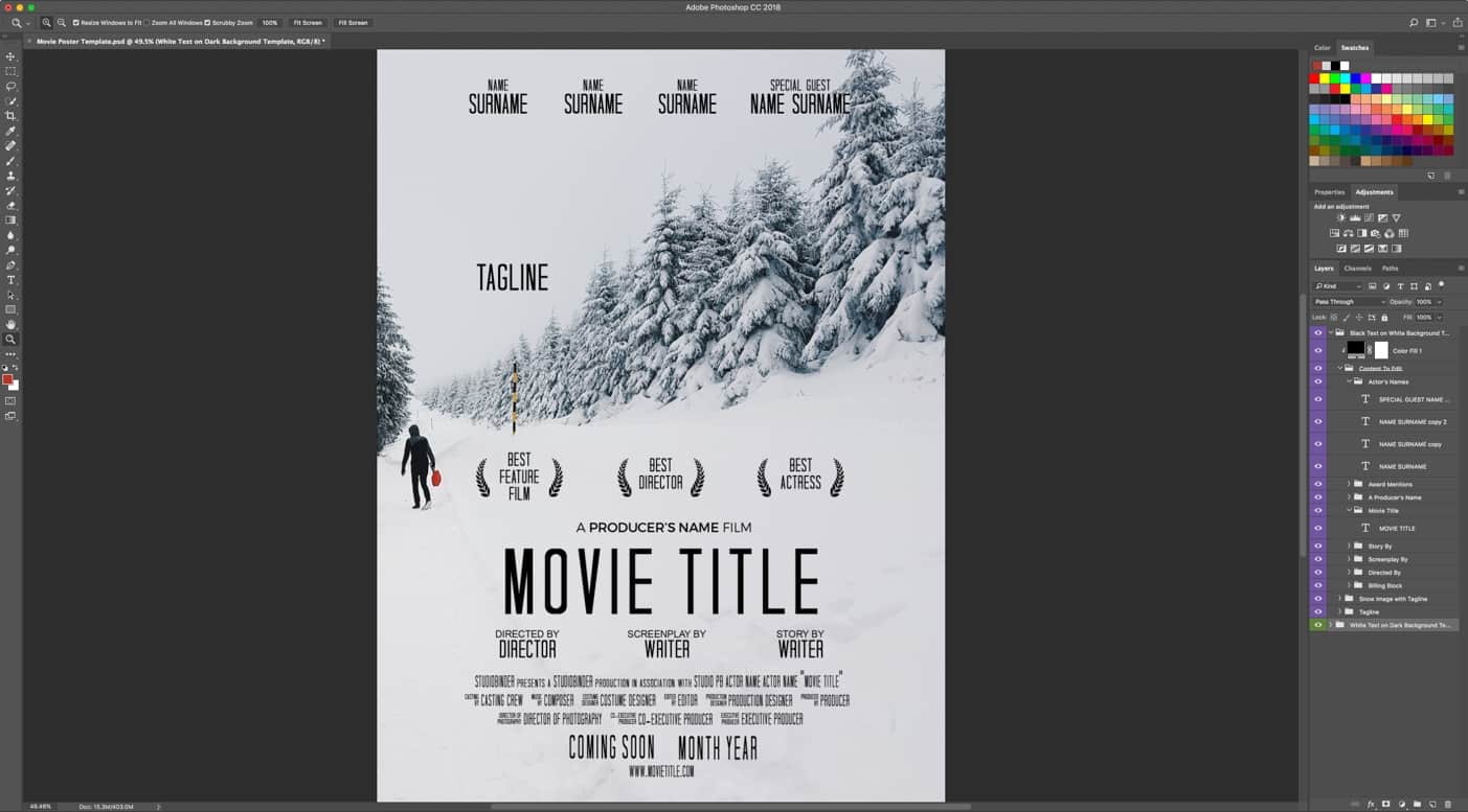 download your free movie poster template for photoshop studiobinder