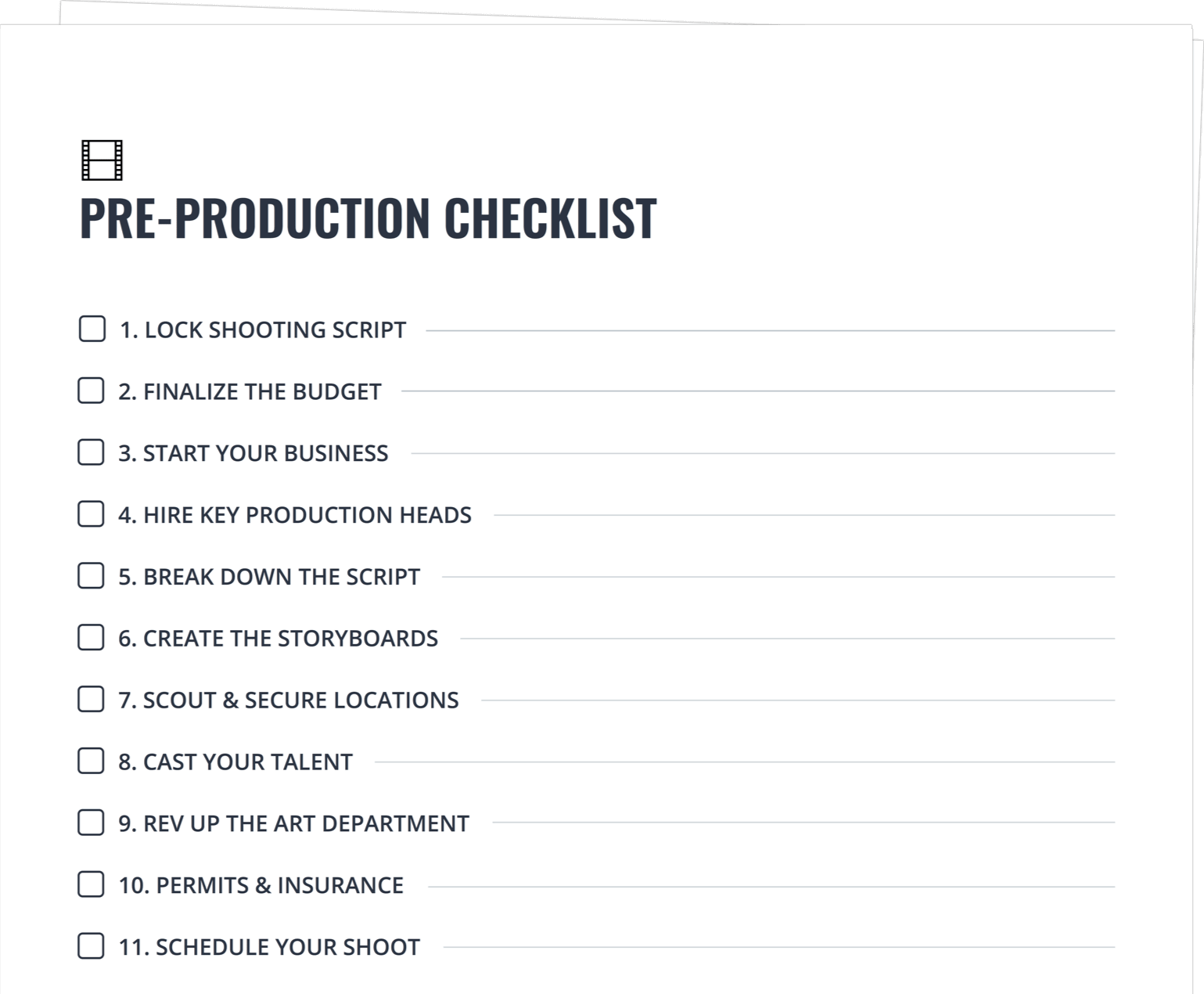 The Ultimate Pre Production Checklist for Film & Video [FREE Checklist]