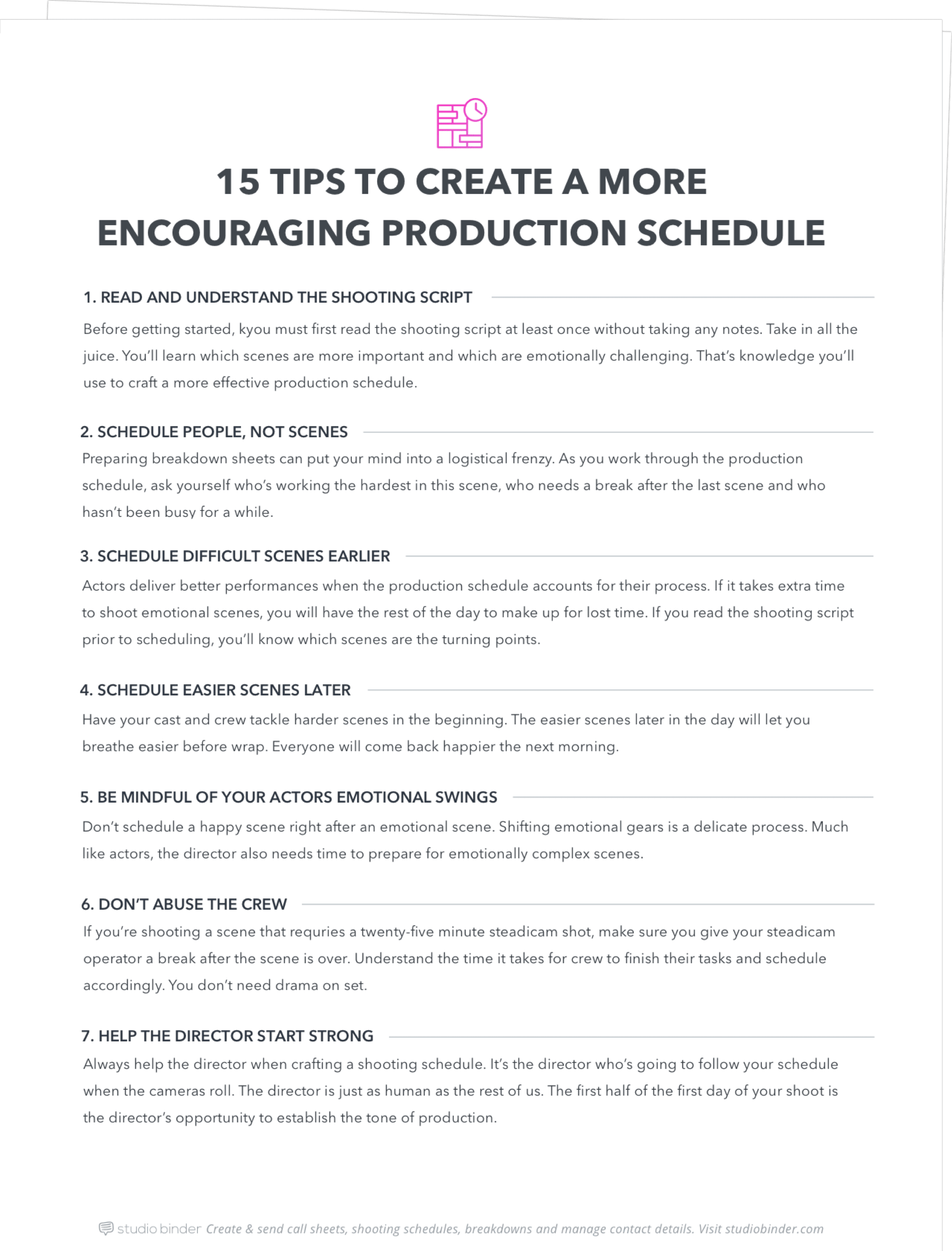 15 pro tips to create a better production schedule