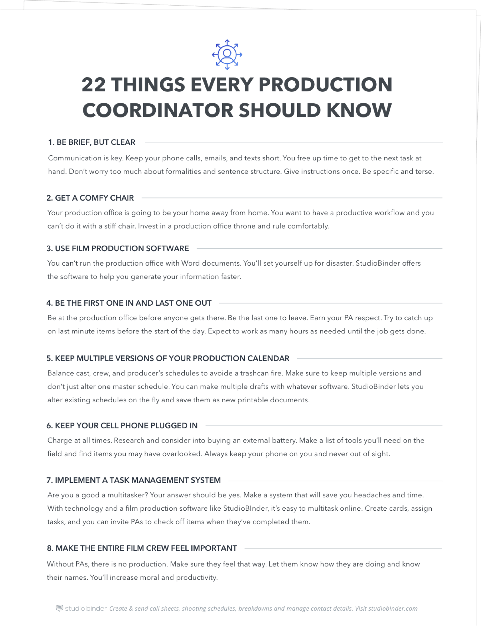 22 things every working production coordinator should know
