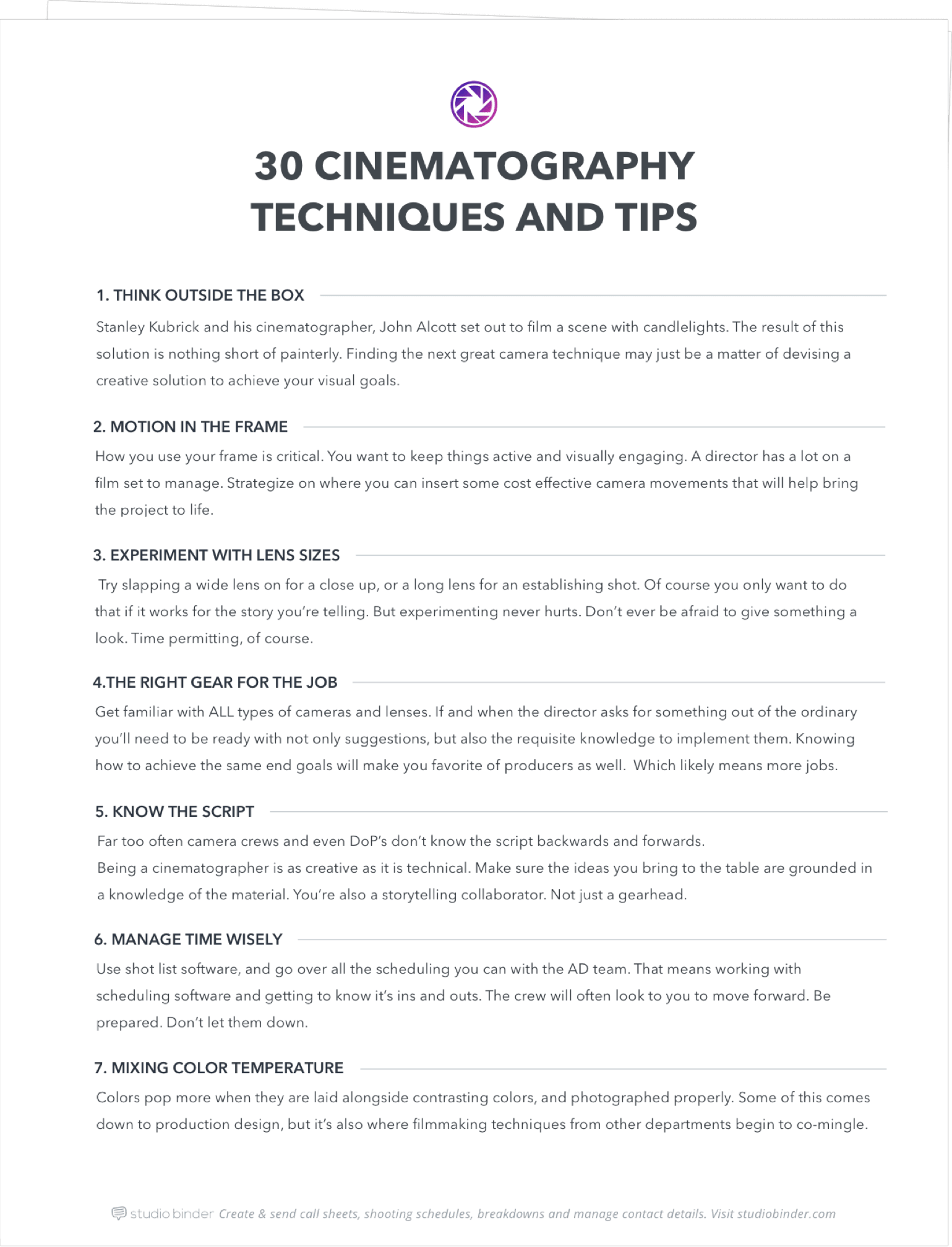 30 Cinematography Techniques and TIps - Exit Intent Full Page - StudioBinder