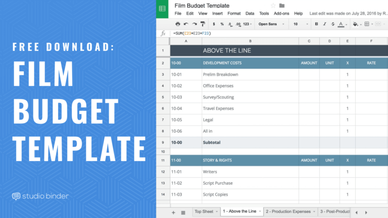 Free Film Budget Template for Film and Video - Feature - StudioBinder