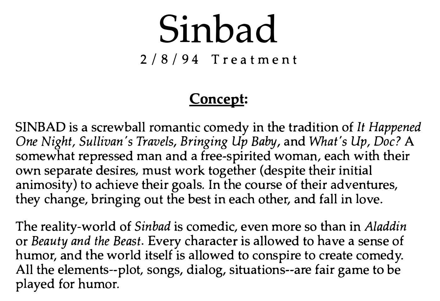 How To Write A Film Treatment Like The Pros Sinbad