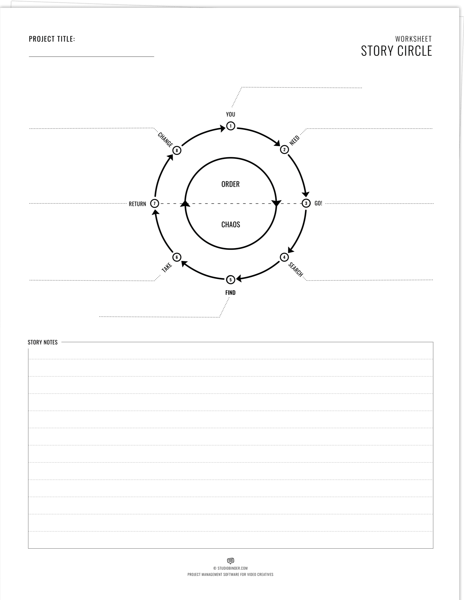 Dan Harmon Story Circle - Worksheet - Printable Worksheet v2 - StudioBinder