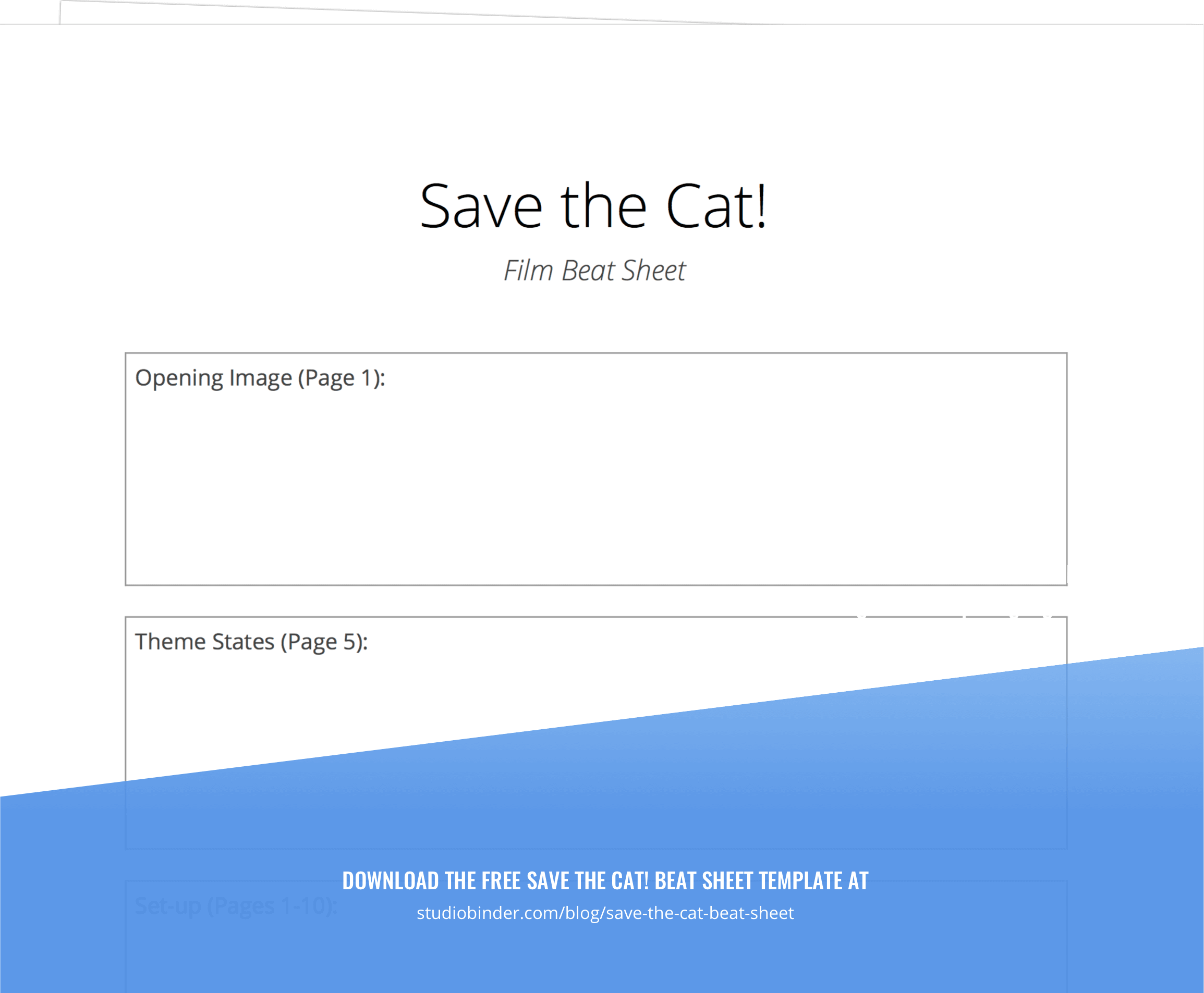 Save the Cat Beat Sheet Tempalte - StudioBinder - Exit intent