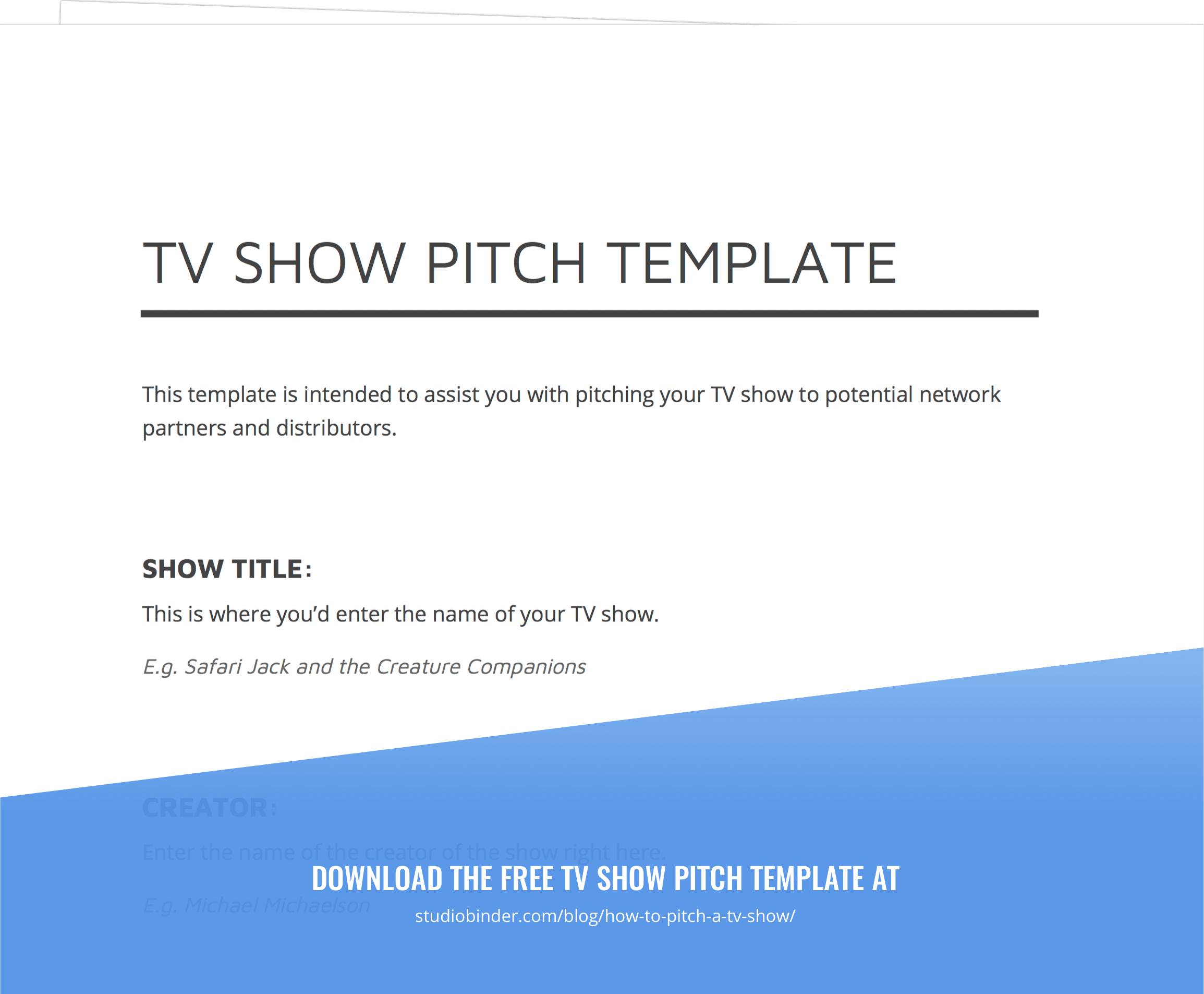 TV Show Pitch Template - Exit Intent - StudioBinder