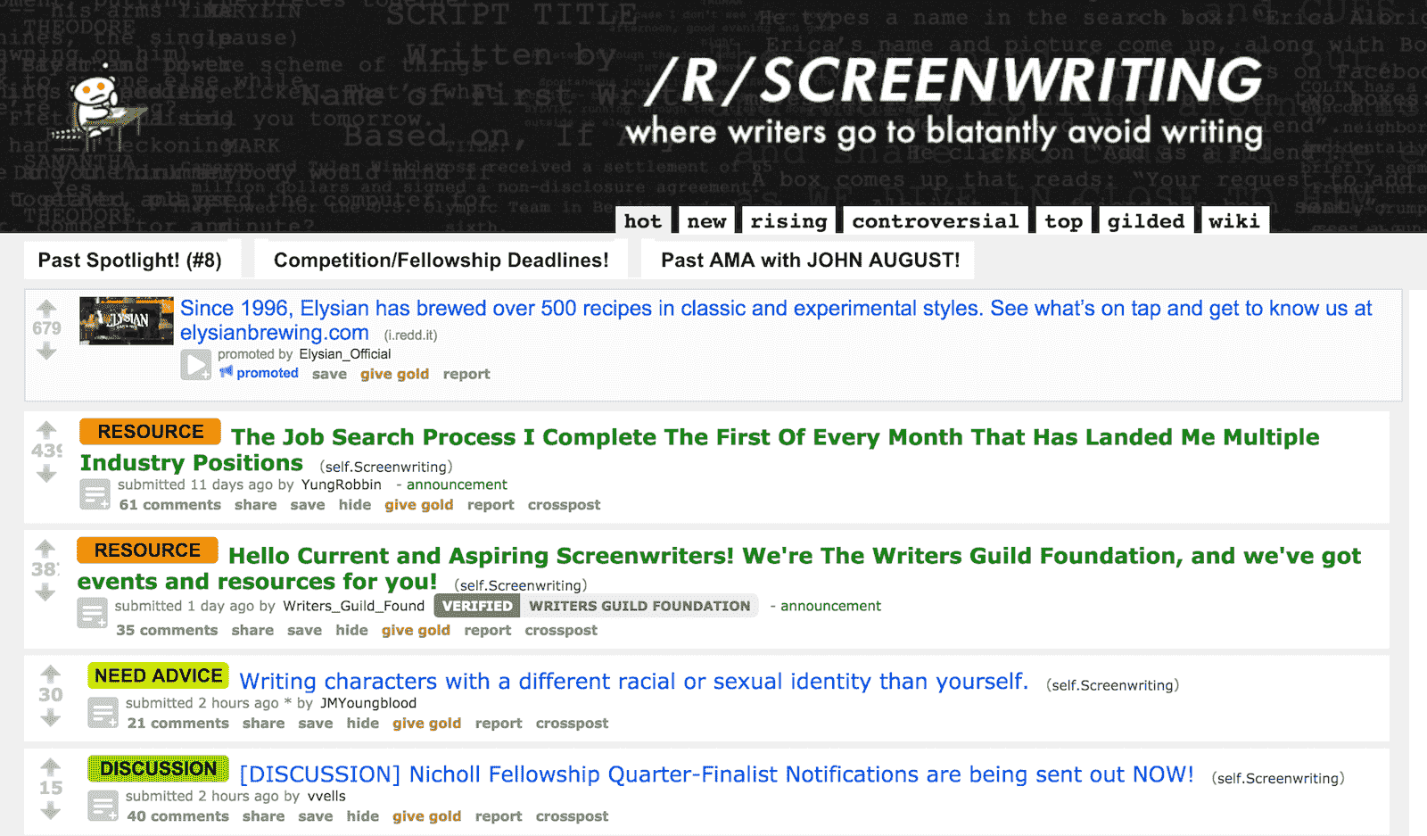 Best Screenwriting Websites - Script Writers - Reddit Screenwriting-min