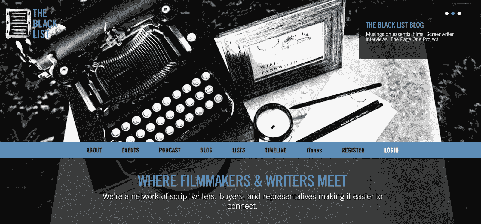 Best Screenwriting Websites - Script Writers - The Black List