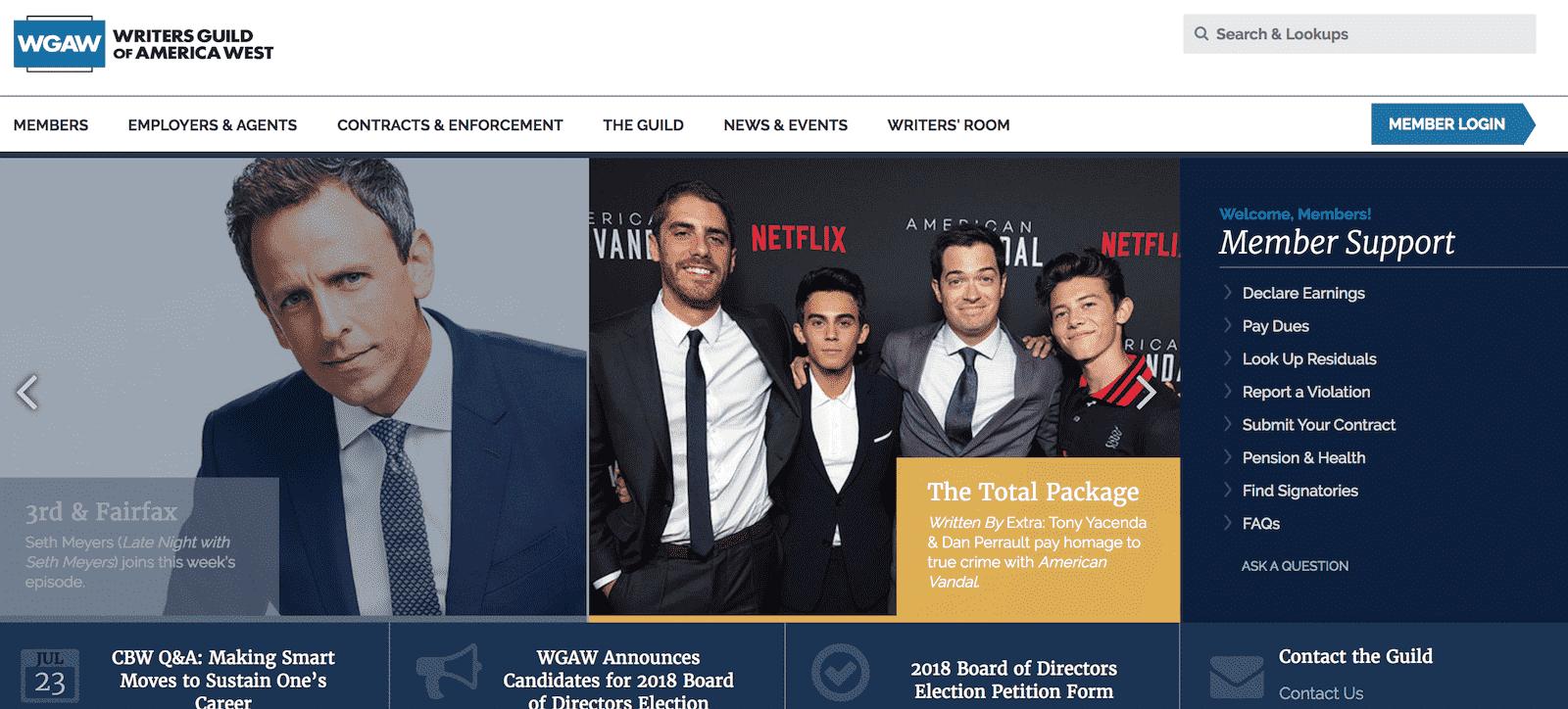 Best Screenwriting Websites - Script Writers - The Writers Guild of America-min