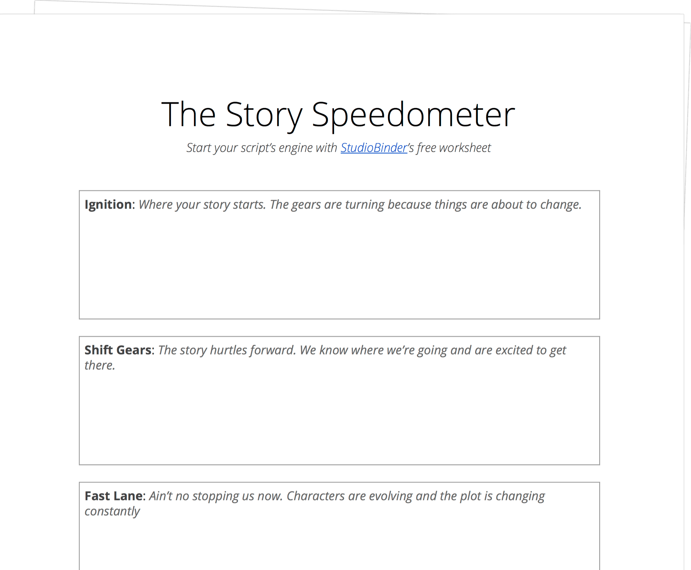 Story Speedometer Worksheet - StudioBinder - Exit Intent