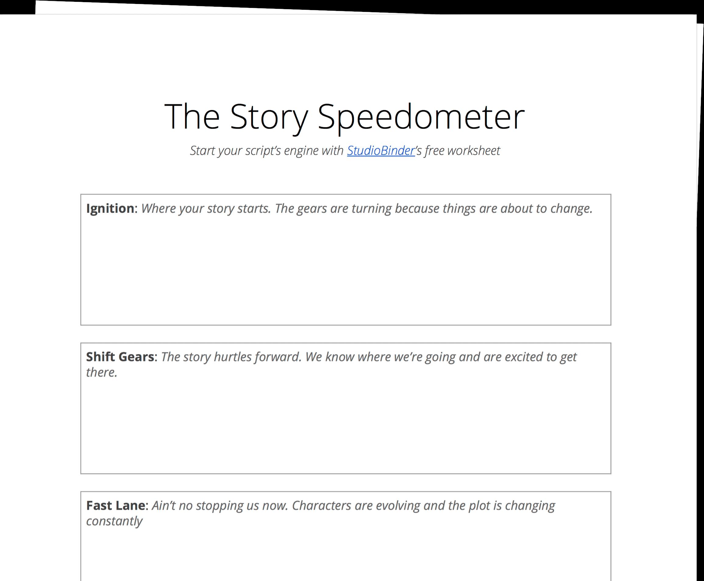 Story Speedometer Worksheet - StudioBinder - Exit Intent