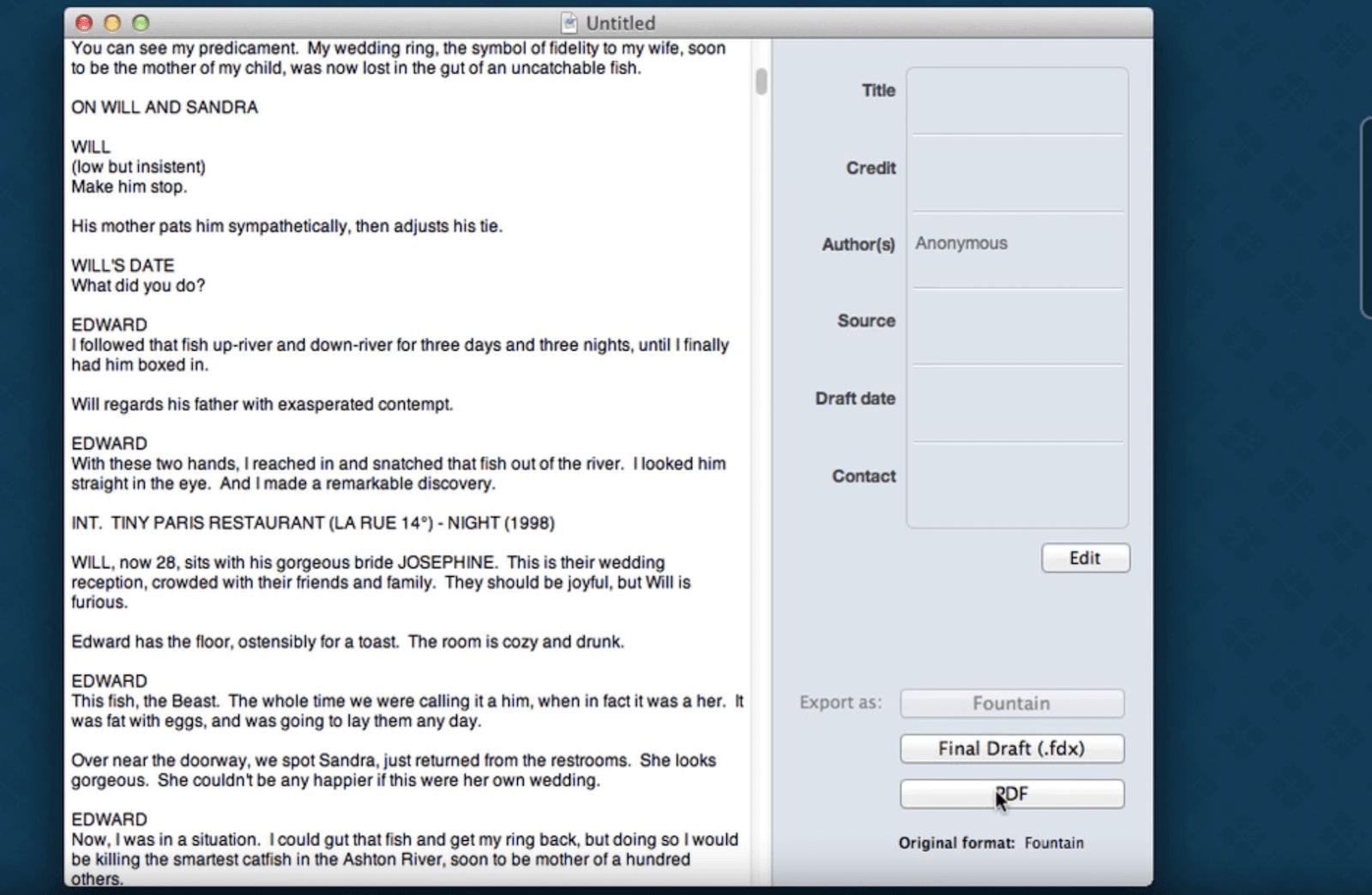 apple mac script writing software