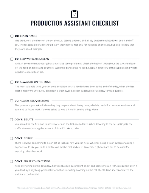 Production Assistant Checklist - Page 1 - StudioBinder - Small.
