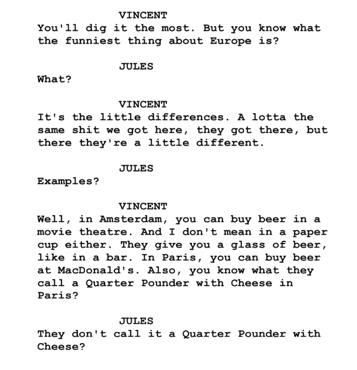 Screenplay Examples - Pulp Fiction Script - Screenplay Snippet 11 - Quarter Pounder with cheese